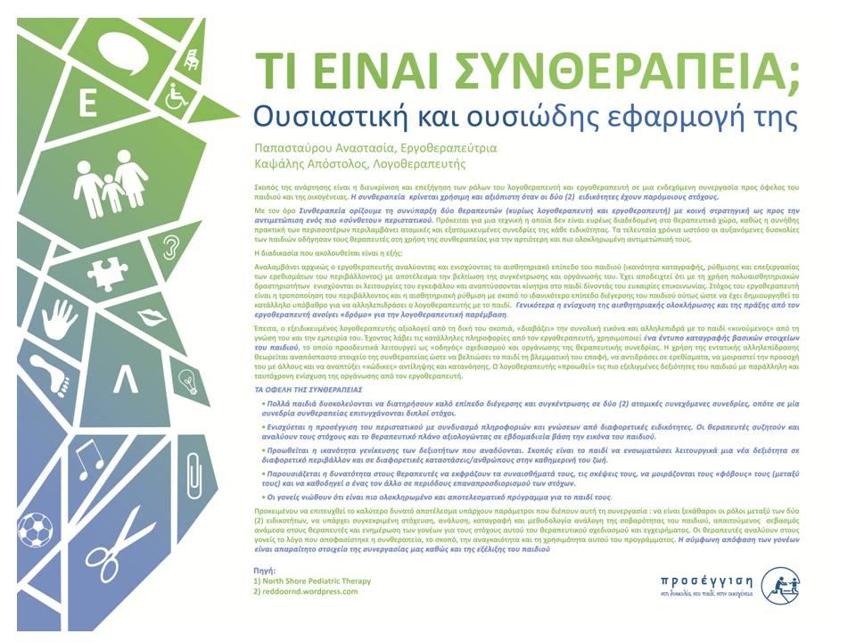Τι είναι συνθεραπεία? Ουσιαστική και ουσιώδης εφαρμογή της. Παρουσίαση στο 13o Πανελλήνιο Συνέδριο Λογοπεδικών-Λογοθεραπευτών. 20-22/5/2016