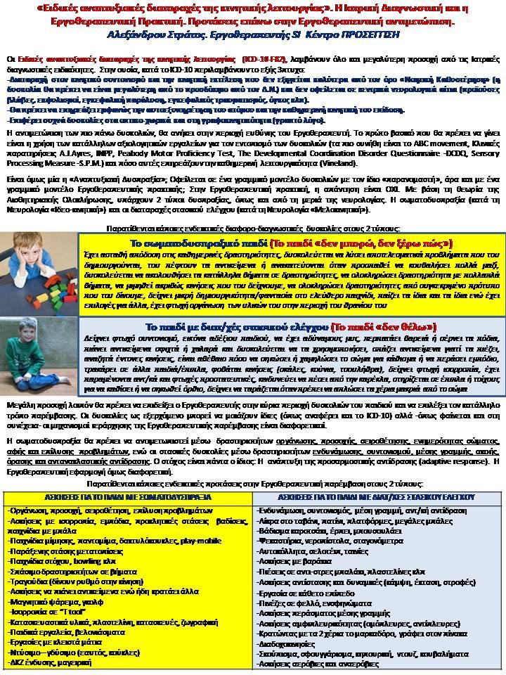«Ειδικές αναπτυξιακές διαταραχές της κινητικής λειτουργίας». Η Ιατρική Διαγνωστική και η Εργοθεραπευτική Πρακτική. Προτάσεις επάνω στην Εργοθεραπευτική αντιμετώπιση.